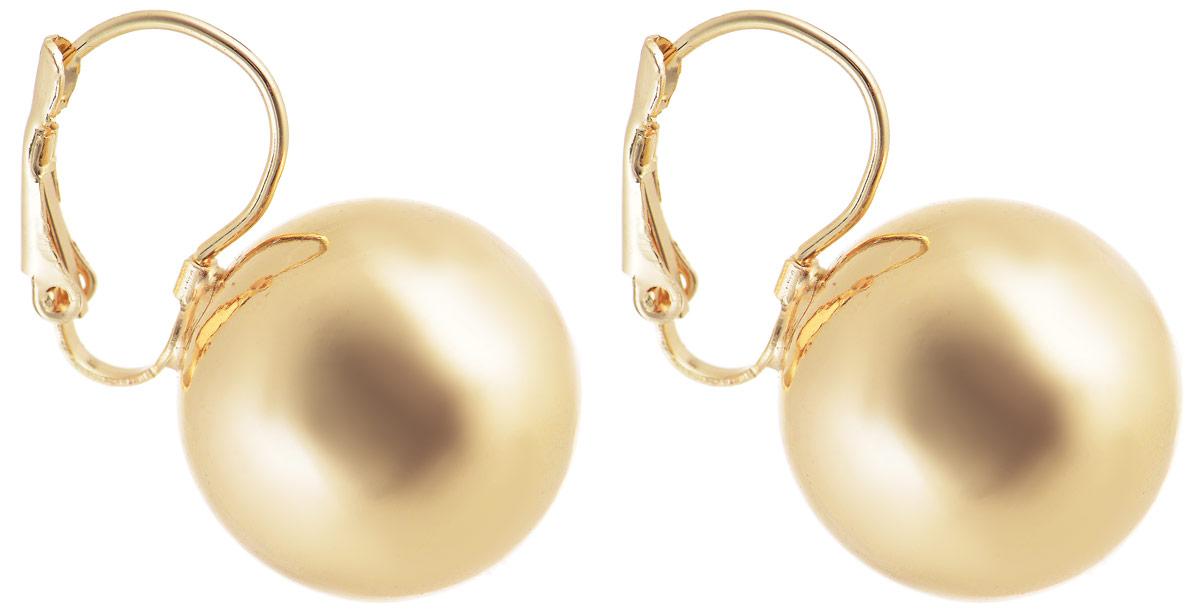 Серьги Vittorio Richi, цвет: золотистый. 91369765vr91369765vrСерьги Vittorio Richi выполнены из металла. Декоративный элемент выполнен в форме шара. Изделие застегивается с помощью замка-петли с фиксатором.