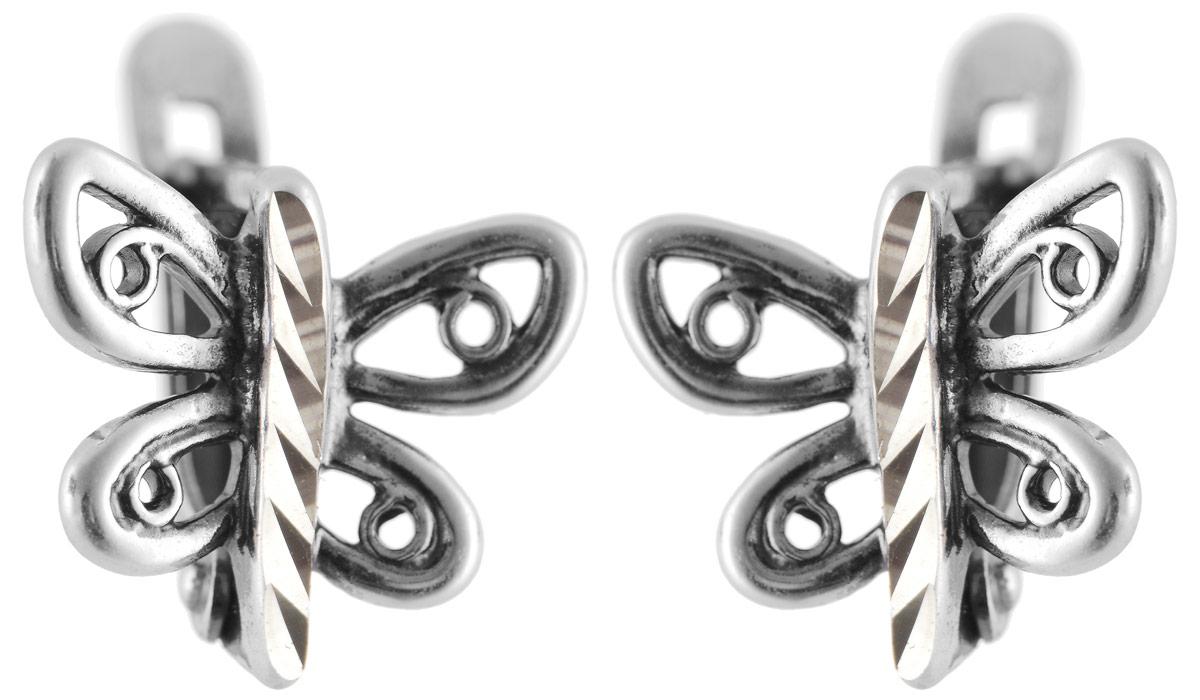 Серьги Vittorio Richi, цвет: серебристый. 91557954vr91557954vrСерьги Vittorio Richi выполнены из металла с гальваническим покрытием из серебра. Декоративный элемент выполнен в виде бабочки. Изделие застегивается на надежный английский замок.