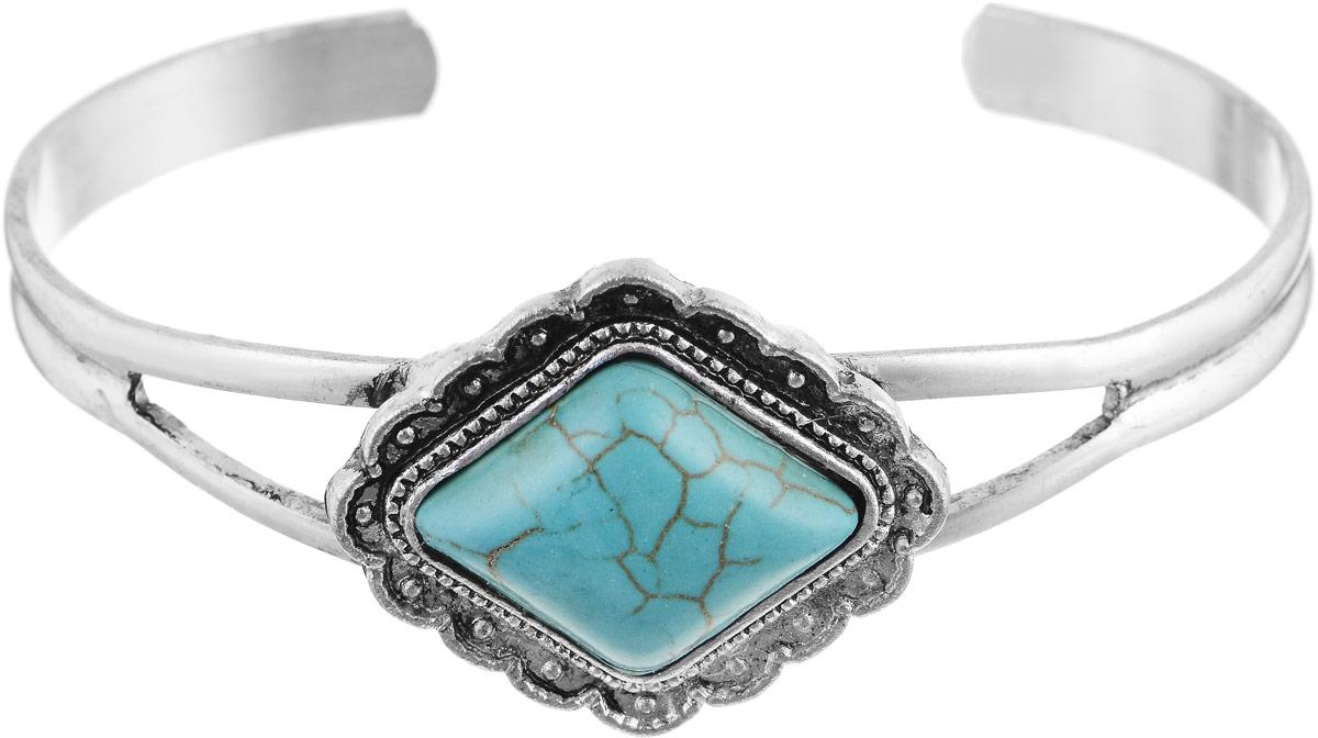 Браслет Vittorio Richi, цвет: серебристый, бирюзовый. 91357780vr91357780vrБраслет Vittorio Richi выполнены из металла. Декоративный элемент выполнен в форме ромба и оформлен вставкой из натурального камня. Размер изделия регулируется.