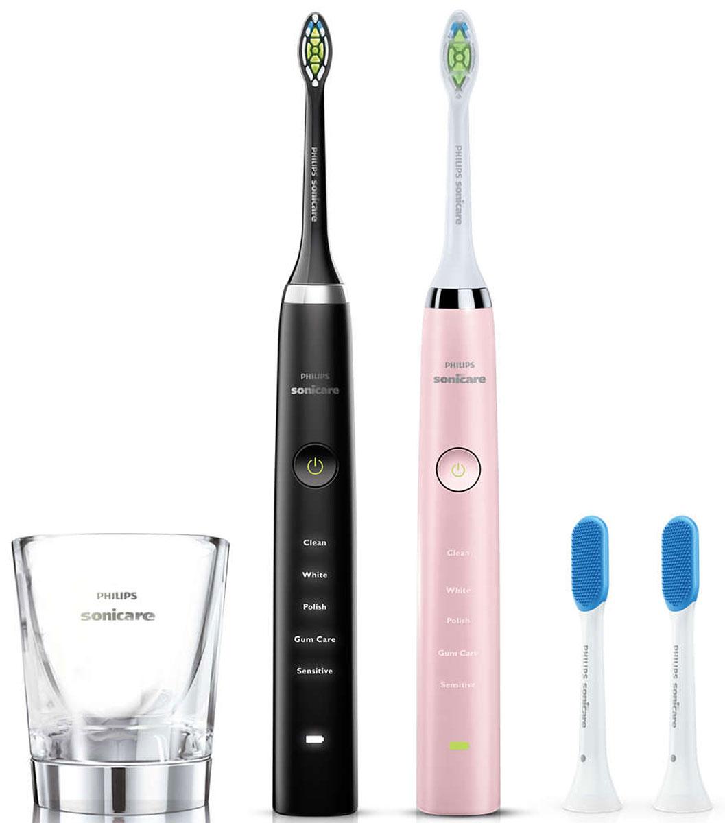 Philips HX9368/35, Black Pink набор электрических зубных щеток, 2 штHX9368/35Подарочный набор из двух электрических зубных щеток Philips Sonicare DiamondClean Для него и для неё. Элегантное сочетание черного и розового цвета в одном наборе. Удаляет в 7 раз больше налета в труднодоступных местах по сравнению с обычной ручной зубной щеткой Электрическая зубная щетка Philips Sonicare эффективно удаляет налет из межзубных промежутков и вдоль линии десен, благодаря этому улучшая здоровье десен всего после двух недель регулярного применения. Philips Sonicare возвращает зубам естественную белизну в 2 раза эффективнее по сравнению с обычной зубной щеткой. Превосходный результат уже после 1 недели использования. Удаляет на 100 % больше потемнений с зубной эмали и осветляет ваши зубы всего за одну неделю. DiamondClean — это лучшая чистящая насадка Philips Sonicare для отбеливания зубов. Кончики щетинок средней жесткости имеют форму ромба и бережно и эффективно удаляют налет. Электрическая зубная щетка Philips ...