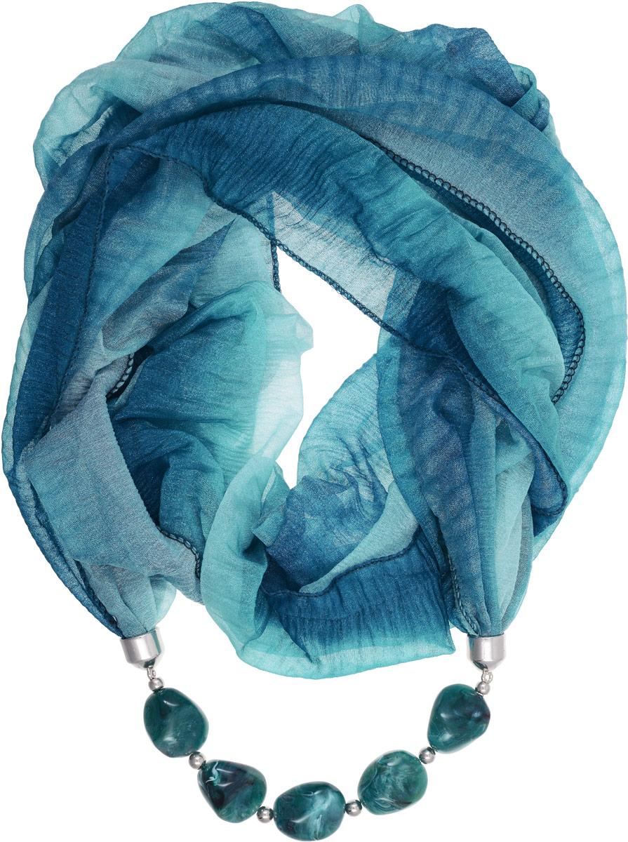 Шарф-ожерелье Bradex Француженка, цвет: морской волны. AS 0067AS 0067Шарф-ожерелье Bradex Француженка выполнен из высококачественного тонкого полиэстера и надевается как хомут. Изделие представляет собой шарф с декоративным элементом в виде ожерелья, украшенного камнями.
