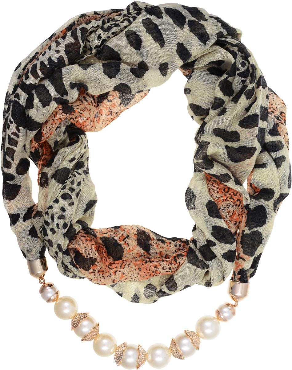 Шарф-ожерелье Bradex Леопард, цвет: бежевый, черный, оранжевый. AS 0066AS 0066Шарф-ожерелье Bradex Леопард выполнен из высококачественного тонкого текстиля и оформлен оригинальным принтом. Изделие представляет собой шарф с декоративным элементом в виде ожерелья, украшенного камнями.