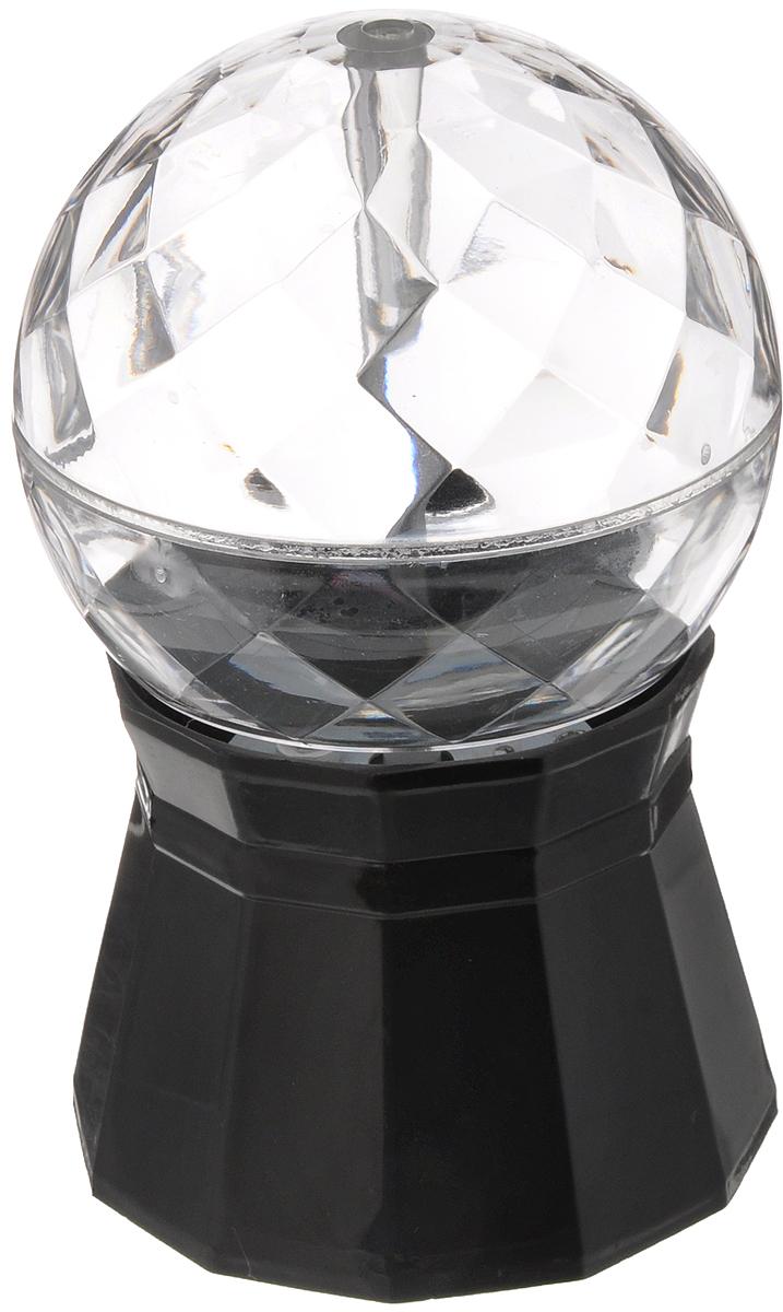Светильник Эврика Диско, малый, цвет: прозрачный, черный, 9,2 х 9,2 х 14,5 см96158Светильник Эврика Диско предназначен для освещения жилых помещений. Такой светильник идеально подойдет для домашней дискотеки, детского праздника или просто уютного вечера в кругу семьи. Своим кристальным блеском и разноцветным сиянием он создаст радужное настроение всем участникам. Прибор может работать от трех батарей типа АА (в комплект не входят), а также имеет в комплекте шнур с адаптером от USB и от сети 220В. Создайте себе праздничное настроение с помощью оригинального светильника Эврика Диско.