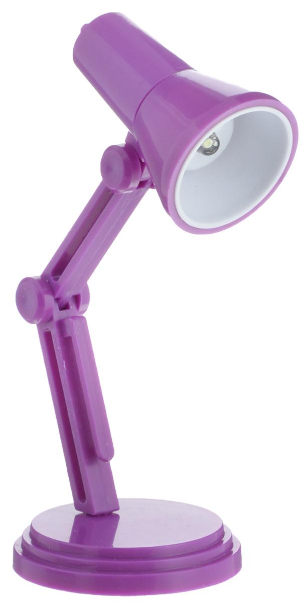 Светильник для чтения книг Эврика, цвет: фиолетовый97526Светильник для чтения книг Эврика, выполненный из пластика, станет отличным приобретением для любителей ночного чтения. Изделие снабжено светодиодной подсветкой, что облегчит чтение, письмо или работу за компьютером в темное время суток. Небольшой светильник крепится на краю книги, также его можно ставить на стол. Ножка изделия регулируемая. Светильник работает от 3 батареек типа LR41 (входят в комплект).