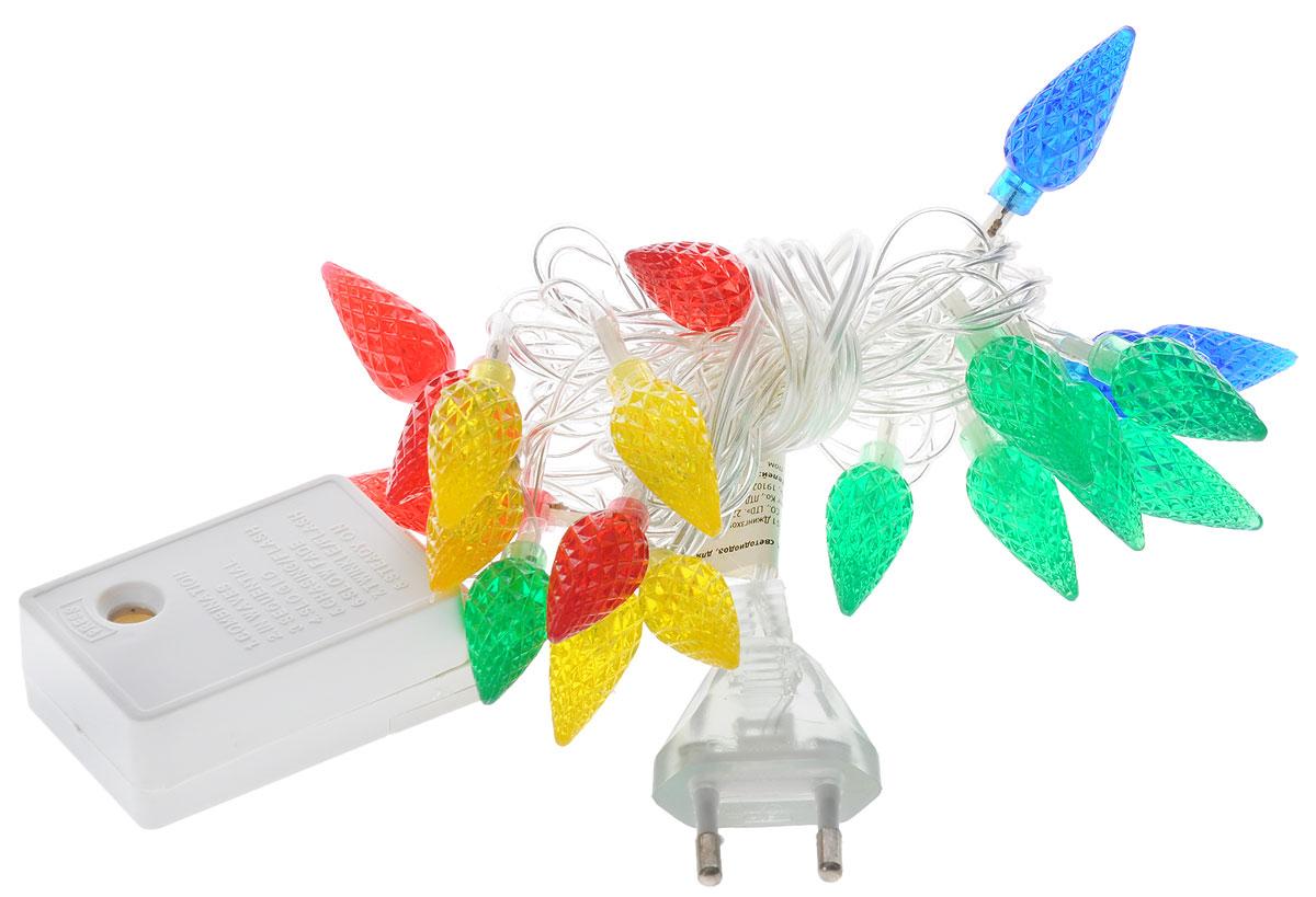 Электрогирлянда B&H Шишки, 20 разноцветных светодиодов, 2 мBH0402Электрогирлянда B&H Шишки предназначена для декоративного внутреннего освещения. Изделие представляет собой гибкий провод, на котором расположены разноцветные светодиоды с насадками в форме шишек. Гирлянда яркая и долговечная, имеет маленькое энергопотребление (в 10 раз меньше, чем у гирлянд с микролампами и минилампами). Гирлянда имеет 8 режимов мигания. Перегорание одной лампочки не приводит к неработоспособности гирлянды. Создайте в своем доме атмосферу веселья и радости, украшая новогоднюю елку яркими светодиодными гирляндами. Расстояние между светодиодами: 10 см. Размер лампы: 1,5 х 1,5 х 3,5 см. Длина шнура: 0,75 м. Длина гирлянды без учета шнура питания: 2 м.