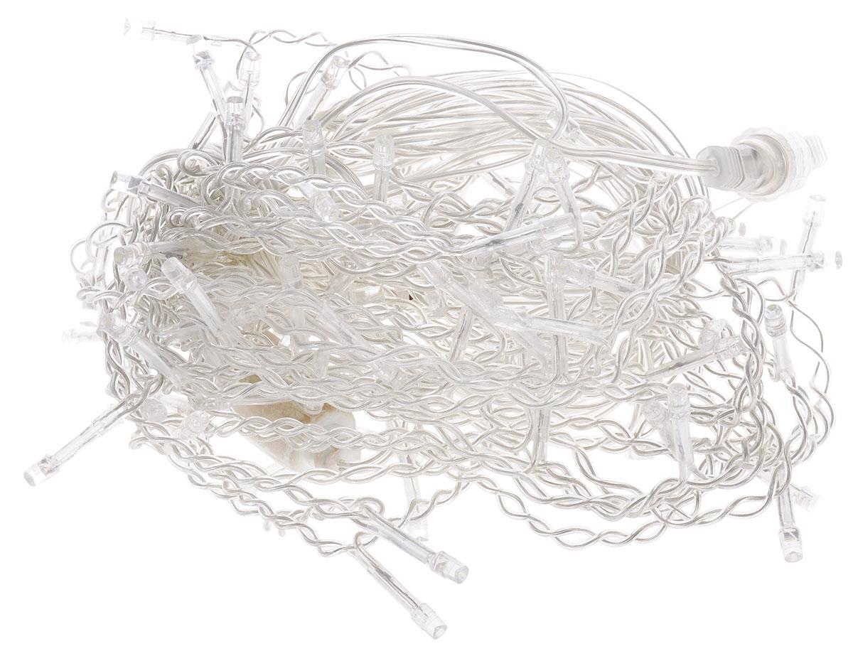 Электрогирлянда внешняя B&H Сосульки, 91 светодиод, цвет: холодный белый, 2 мBH0127-WЭлектрогирлянда B&H Сосульки предназначена для декоративного освещения внутри и снаружи помещений. Изделие представляет собой гибкий провод, на котором расположены нити разной длины со светодиодами холодного белого цвета. Электрогирлянда яркая и долговечная, имеет низкое энергопотребление. Она поможет оформить крыши домов, стены, витрины, мансарды, а также позволит создать праздничную атмосферу вокруг. Особенно эффектно будет смотреться при украшении верхних этажей загородных домов. Наличие специальных коннекторов позволяет удлинить гирлянду до 30 м с помощью подключения дополнительных секций (до 15 гирлянд). Создайте в своем доме атмосферу веселья и радости, украшая его яркими светодиодными гирляндами. Расстояние между светодиодами: 10 см. Высота гирлянды: 1 м.
