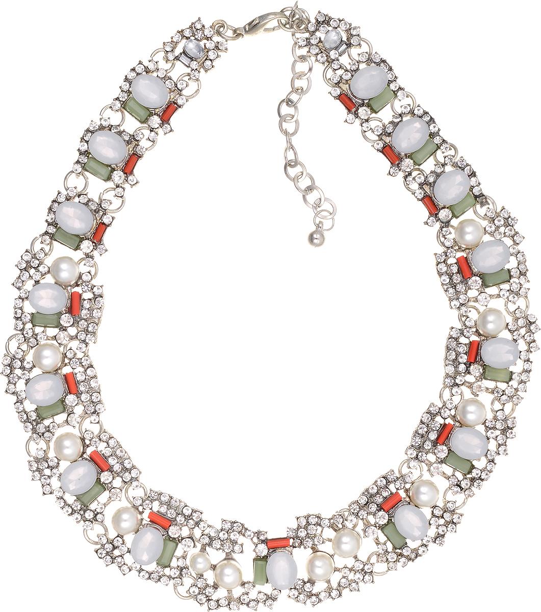 Колье Bradex Маргарет, цвет: серебряный. AS 0008AS 0008Колье Bradex Маргарет выполнено из меди и оформлено декоративными вставками из искусственных камней и страз. Изделие застегивается на замок-карабин, а длина регулируется с помощью звеньев.