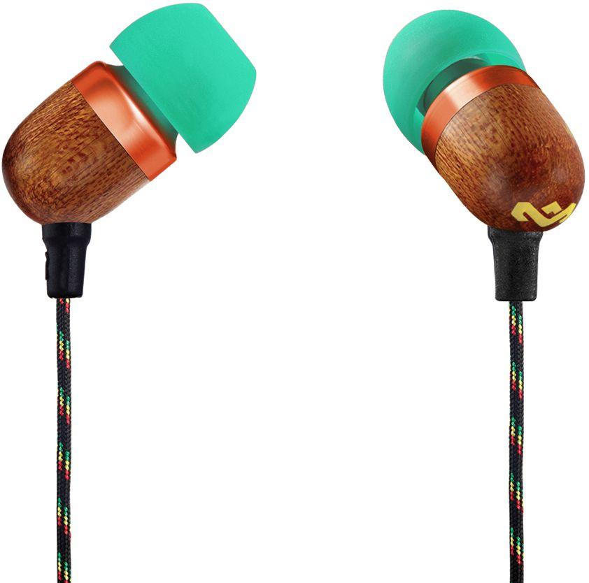 House of Marley Smile Jamaica Rasta наушникиEM-JE041-RAУдобные наушники House of Marley Smile Jamaica с легким дизайном изготовлены из экологически чистых материалов. Корпус наушников выполнен из бамбука с алюминиевой вставкой. Мощные 9-мм драйверы позволяют насладиться полноценным живым звучанием с отличной шумоизоляцией. Тканевая оплетка повышает надежность кабеля, помогает избежать спутывания и снижает микрофонный шум. Для любителей слушать музыку со смартфона кабель оснащен однокнопочным пультом, благодаря которому устройство не нужно доставать из кармана, чтобы поставить на паузу или ответить на звонок.