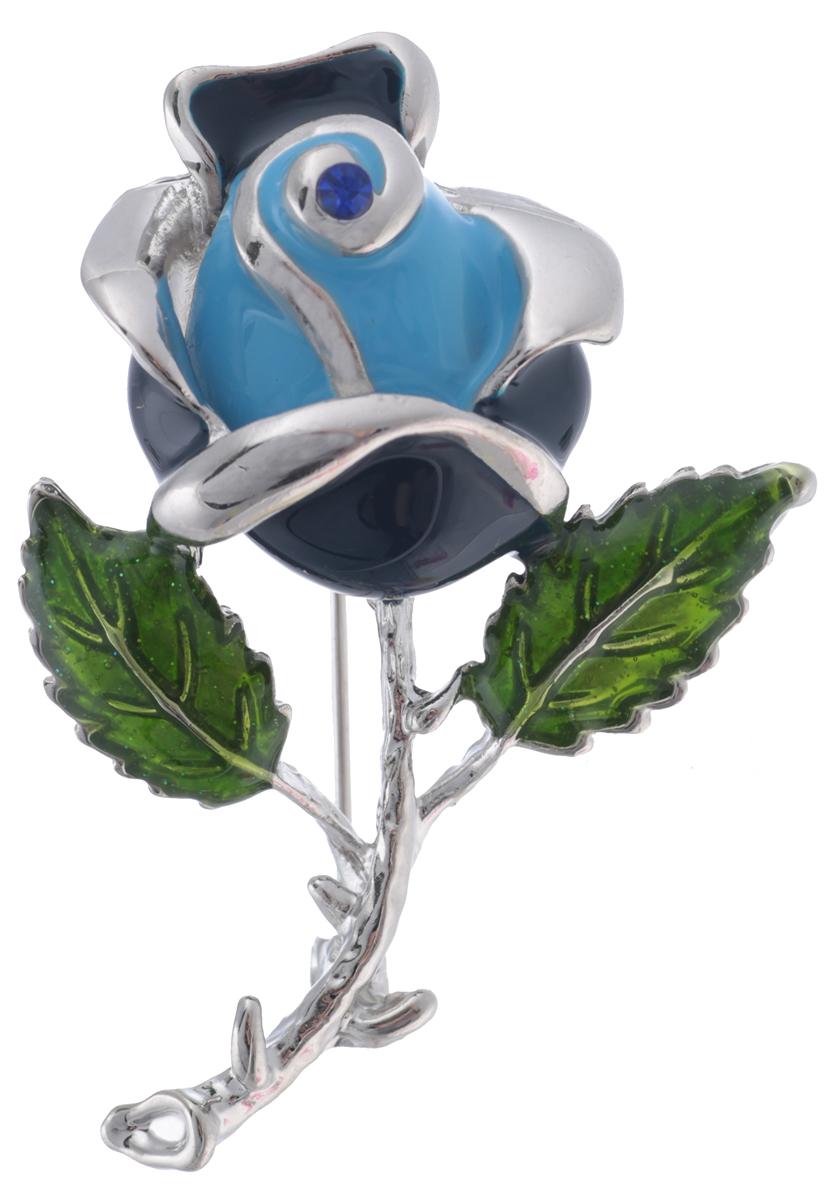 Брошь Голубая роза от Arrina. Цветные эмали, страз синего цвета, бижутерный сплав серебряного тона. ГонконгОС28529Брошь Голубая роза от Arrina. Цветные эмали, страз синего цвета, бижутерный сплав серебряного тона. Гонконг. Размер: 5 х 3 см. Тип крепления - булавка с застежкой.