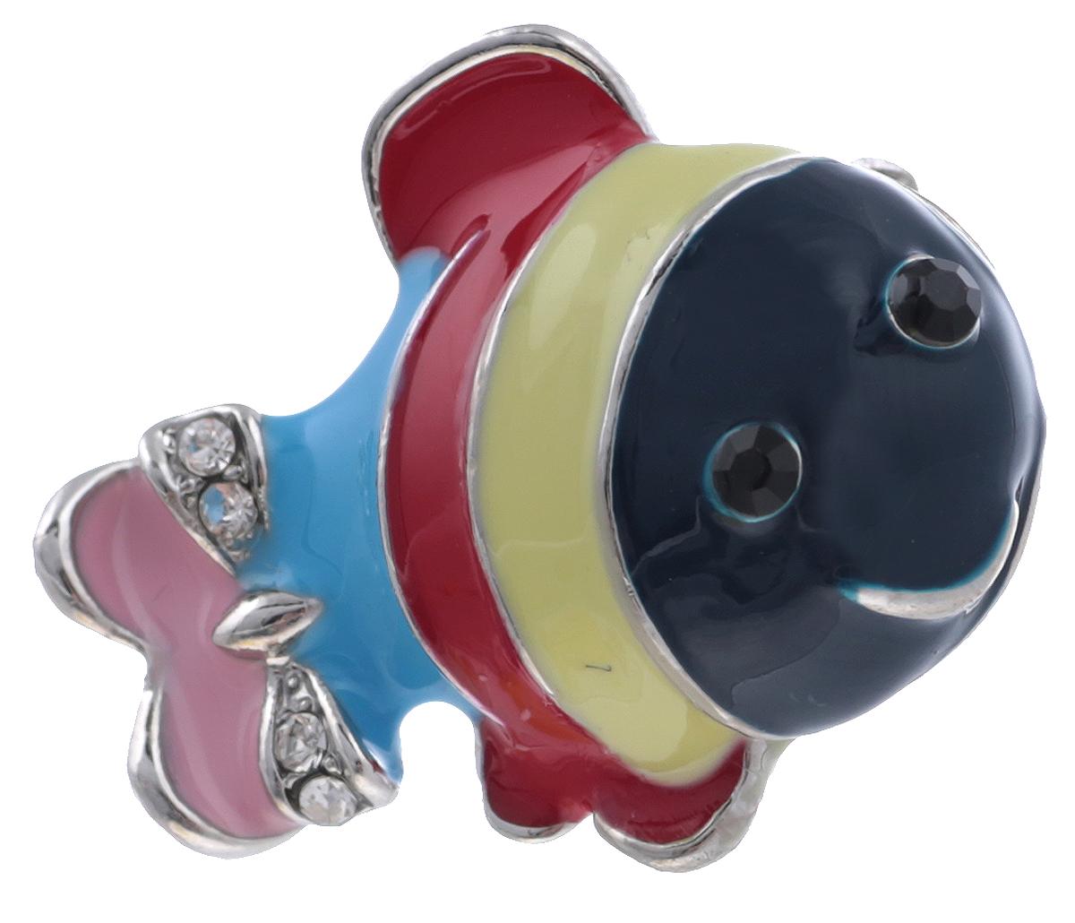Брошь Рыбка от Arrina. Цветные эмали, прозрачные стразы, бижутерный сплав серебряного тона. ГонконгОС30623Брошь Рыбка от Arrina. Цветные эмали, прозрачные стразы, бижутерный сплав серебряного тона. Гонконг. Размер: 2,5 х 1,5 см. Тип крепления - булавка с застежкой.
