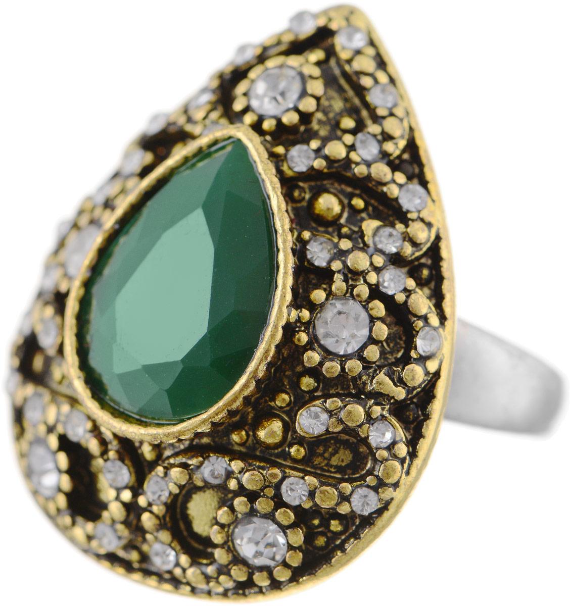 Кольцо Bradex Нимфа, цвет: золотой, зеленый, серебряный. AS 0040AS 0040Кольцо Bradex Нимфа выполнено из металлического сплава. Декоративный элемент выполнен в форме капли, оформленной вставками из искусственных камней и страз.