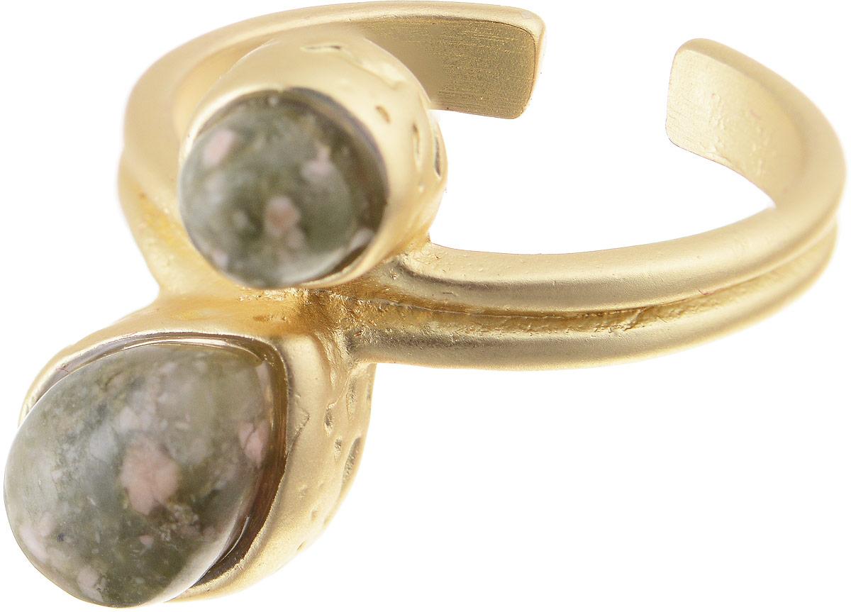 Кольцо Bradex Бесконечность, цвет: золотой, хаки. AS 0034AS 0034Кольцо Bradex Бесконечность изготовлено из металлического сплава. Декоративный элемент оформлен вставками из оникса. Размер кольца регулируется.