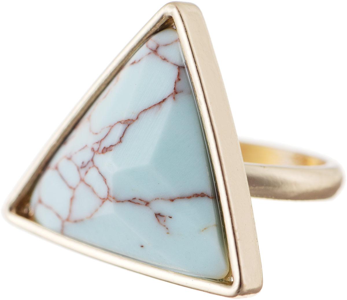 Кольцо Bradex Бермуды, цвет: золотой, бледно-голубой. AS 0033AS 0033Кольцо Bradex Бермуды выполнено из металлического сплава с золотым покрытием и дополнено декоративным элементом треугольной формы, оформленного вставкой из бирюзы.