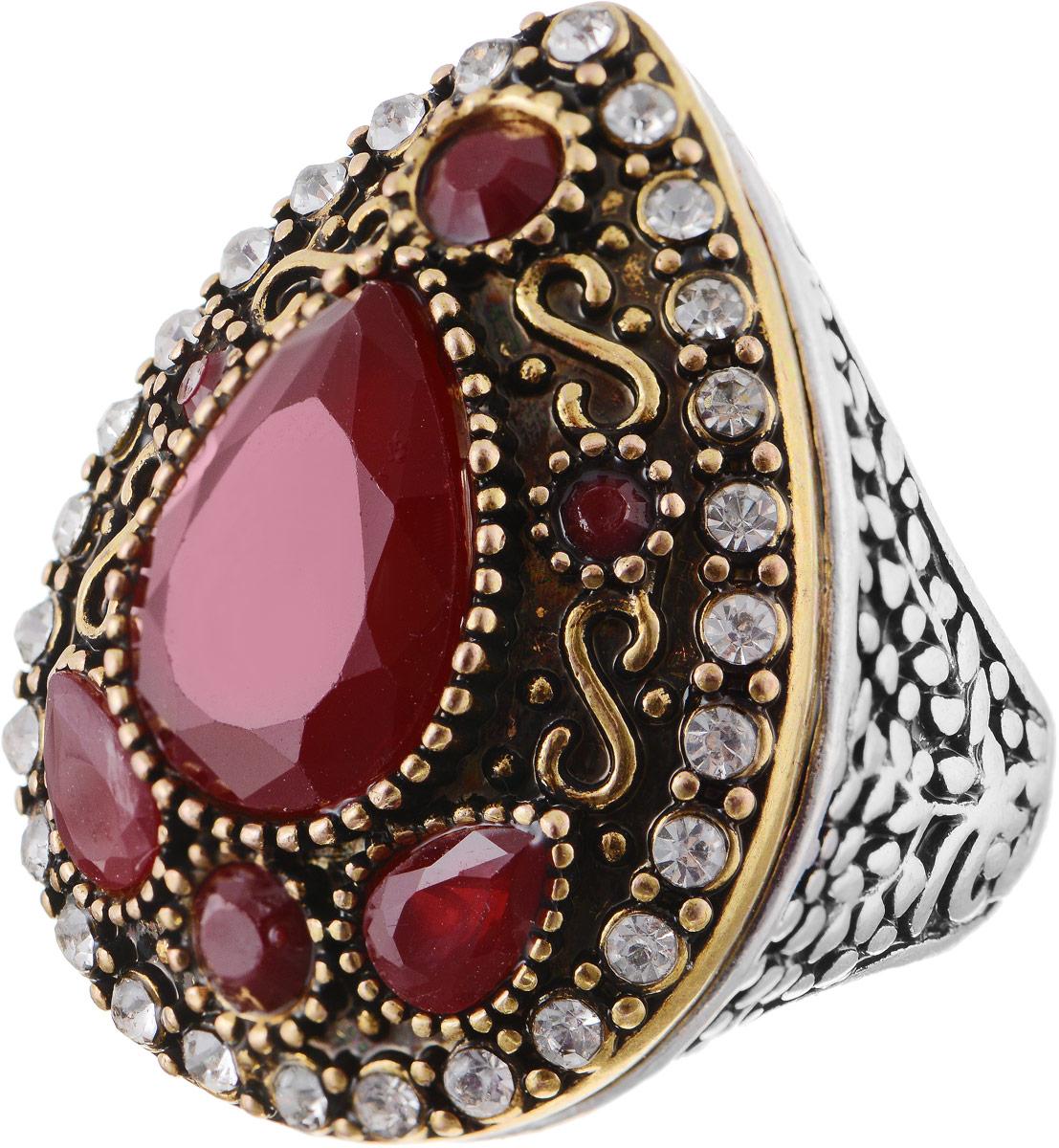 Кольцо Bradex Кармен, цвет: золотой, серебряный, бордовый. AS 0015. Размер 19AS 0014Кольцо Bradex Кармен выполнено из металлического сплава. Декоративный элемент выполнен в форме капли, оформленной вставками из искусственных камней и страз.