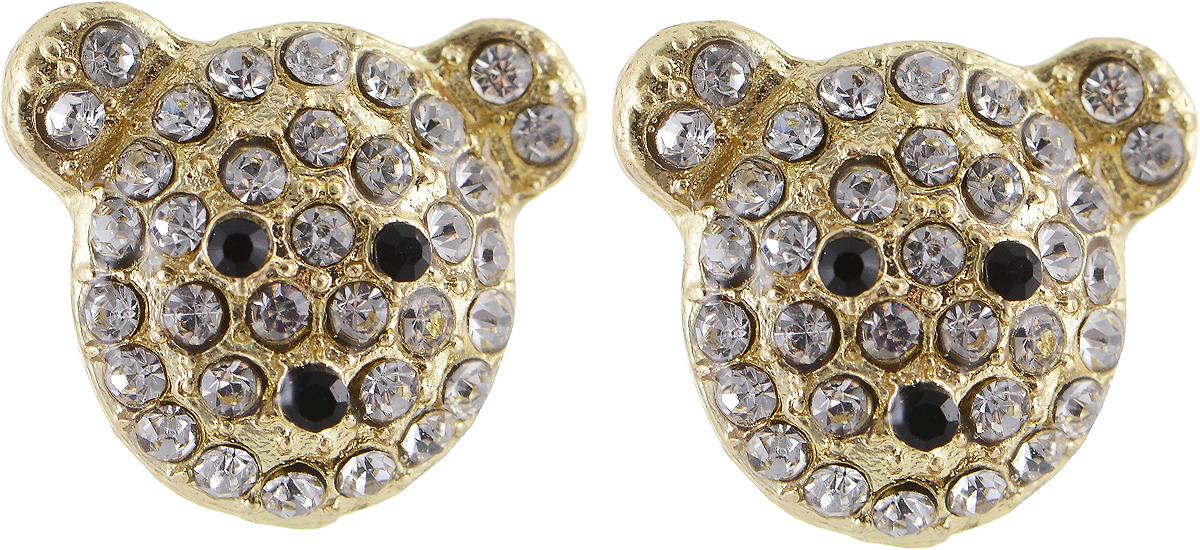 Серьги Bradex Мишки, цвет: золотой. AS 0063AS 0063Серьги Bradex Мишки выполнены из металлического сплава с золотым напылением. Декоративный элемент изделие выполнен в виде мордочки медвежонка , оформленного вставками из страз. Застегиваются сережки с помощью замка-гвоздика с заглушкой.