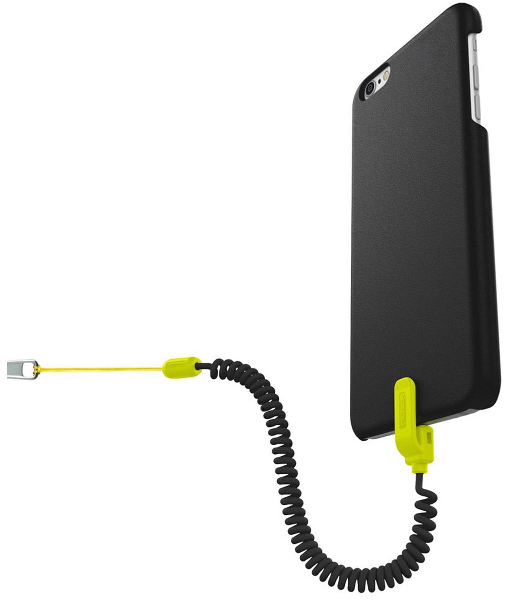 Kenu Highline Case with Leash чехол для Apple iPhone 6 Plus/6s Plus, Black GreenHL6P-GN-NAHighline Case with Leash - невероятно функциональный чехол от Kenu: теперь надежность, защита, устойчивость – в одном флаконе! Этот невероятный чехол обеспечивает достаточное облегание Apple iPhone 6 Plus/6s Plus, первоклассным образом защищает углы, экран и другие хрупкие элементы гаджета, а также, благодаря специальному спиральному проводку удержит ваш смартфон при падении. Поводок крепится через порт Lightning смартфона и специальную выемку в чехле для надежного удержания устройства. Прочный сердечник из Kevlara не даст поводку порваться.