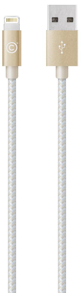LAB.C Lightning Cable A.L Apple 8 Pin, Champagne Gold кабель USB-Lightning (1,2 м)LABC-505-GL_NКабель LAB.C Lightning Cable A.L Apple 8 Pin предназначен для зарядки и синхронизации устройств с коннектором Lightning. Оплетка выполнена из инновационной износостойкой ткани с плотным плетением нейлоновых нитей, благодаря которому продолжительность использования кабеля возрастает в 5 раз, в сравнении с другими проводами. Наличие специальной пропитки оплетки увеличивает прочность провода и защищает его от перекручивания. Коннекторы выполнены из алюминия премиального качества и отличаются высокой скоростью передачи данных.