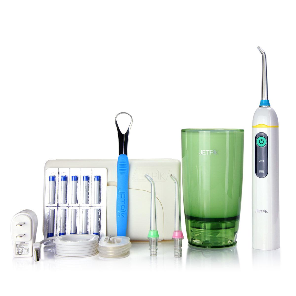 Ирригатор полости рта Jetpik JP50-EliteJA05-103-02Сочетает в себе очищающее действие зубной нити (смарт-флосса), воды и воздуха. Легкий в использовании, очень эффективный и экономит время Здоровые десны и чистые зубы уже через 7 дней. Клинически доказано, что удаляет до 99% зубного налета. Инновационная комбинация давления воды и пульсирующей флосс- системы (20-25 колебания в сек) удаляет остатки пищи глубже и быстрее, между зубами и ниже линии десен, в труднодоступных местах вокруг брекетов, между зубными имплантатами и коронками. Пульсирующая под давлением воды смарт флосс- система создает дополнительную силу трения. Лабораторно доказано что JETPIK на 240% более эффективно удаляет зубной налет и биопленку, чем обычные водные ирригаторы. Эффективный, безопасный и простой в использовании. Идеально подходит для тех, кто с имплантатами, коронками, брекет-системами, мостовидными протезами, пародонтальными карманами. Портативный и компактный - по размерам не больше электрической зубной щетки, благодаря встроенной литиевой батарее...