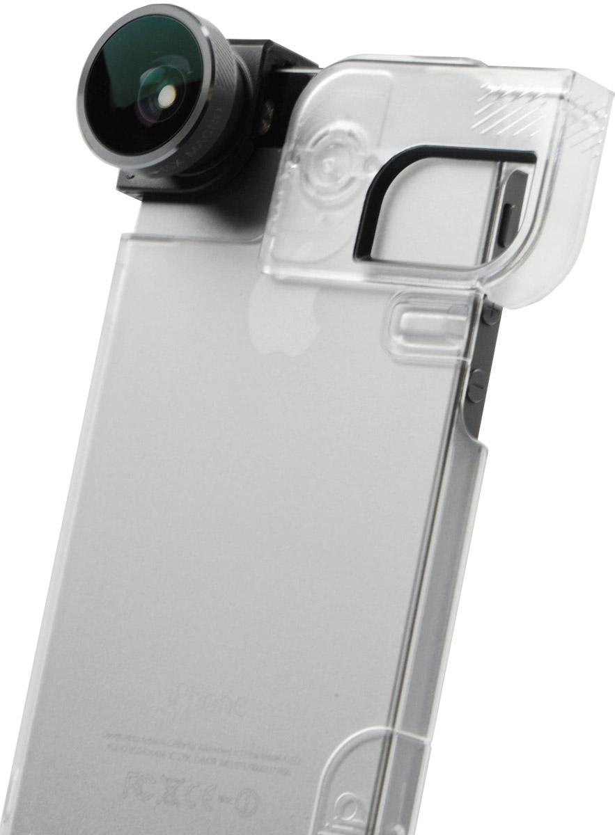 Olloclip 4-in-1, Space Grey Black накладной объектив для iPhone 5/5s + чехол, ClearOCEU-IPH5-FW2M-GYB-C