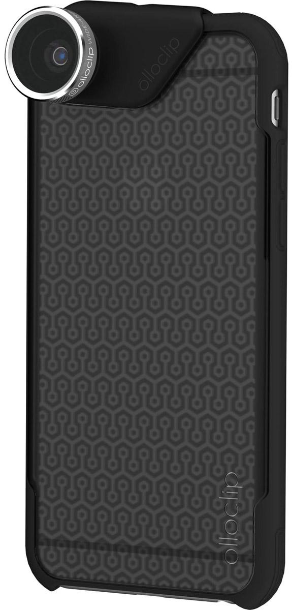 Olloclip Combo 4-in-1, Silver накладной объектив для iPhone 6 Plus + чехол olloCase, Grey Black