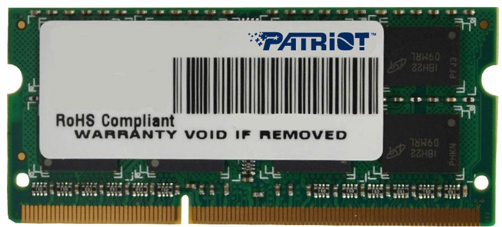 Patriot DDR3 SO-DIMM 4Gb 1600МГц модуль оперативной памяти (PSD34G16002S)PSD34G16002SНебуферезированная память Patriot DDR3 SO-DIMM PSD34G16002S предоставляет качество работы, надежность и производительность, требуемую для современных ноутбуков сегодня. Этот модуль емкостью 4 ГБ, спроектирован для работы на частоте 1600 МГц PC3-12800 при таймингах CAS 11. Модуль собран при использовании специальных компонентов.