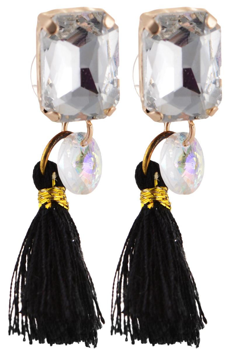 Серьги Bradex Танго, цвет: золотой, черный, серебряный. AS 0064AS 0064Серьги Bradex Танго изготовлены из металлического сплава. Декоративный элемент оформлен вставкой из кристалла и подвеской в виде текстильной кисточки. Изделие застегивается на замок-гвоздик с заглушкой.