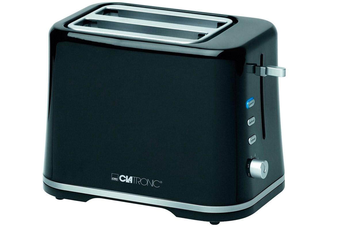 Clatronic TA 3554, Black Silver тостерTA 3554 schwarz-silberТостер Clatronic TA 3554 представляет собой сочетание удобства, функциональности и элегантного внешнего вида. Мощность в 870 Вт, простота управления и быстрое приготовление тостов. Компактное и легкое в управлении устройство позволит приготовить вкуснейшие тосты за считанные минуты стразу на двоих. Вы можете в любой момент остановить процесс поджаривания, просто нажав на соответствующую кнопку. Ухаживать за тостером легко и приятно благодаря наличию поддона для крошек.