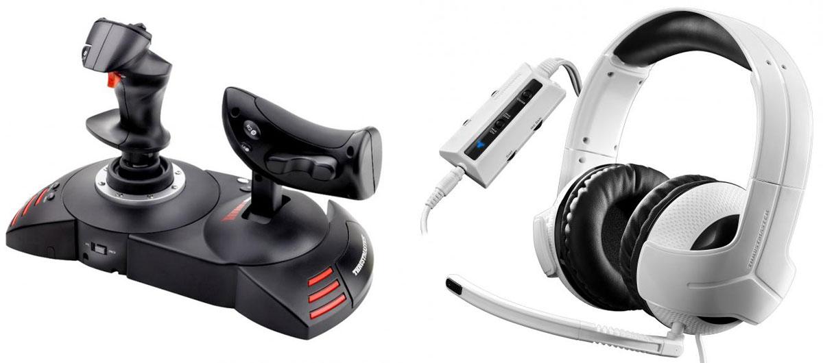 Джойстик Thrustmaster T-Flight Hotas X Warthunder Pack для PS3/PC + игровая гарнитура Thrustmaster Y300CPX для PS4THR55Thrustmaster T-Flight Hotas X - высокочувствительный джойстик со съемным рычагом управления и прямой конфигурацией для моментального взлета. Специальная кнопка Preset (предварительные настройки) для моментального переключения игры с одной системы настроек на другую. Съемный эргономичный сектор газа в натуральную величину. Элементарно простое и быстрое подключение по типу Plug & Play, с набором предварительно настроенных функций (без забот о настройках). Большая опора для руки, обеспечивающая высокий комфорт. Двойное управление: с помощью поворота рукоятки (с интегрированной системой блокировки) или с помощью современного качающегося рычага. Встроенная память для сохранения настроек джойстика. 12 кнопок и 5 осей могут быть запрограммированы. Специальная кнопка Mapping (переопределение): все функции клавиш могут быть моментально изменены. Гашетка торможения (гражданский полет) или быстрого огня...