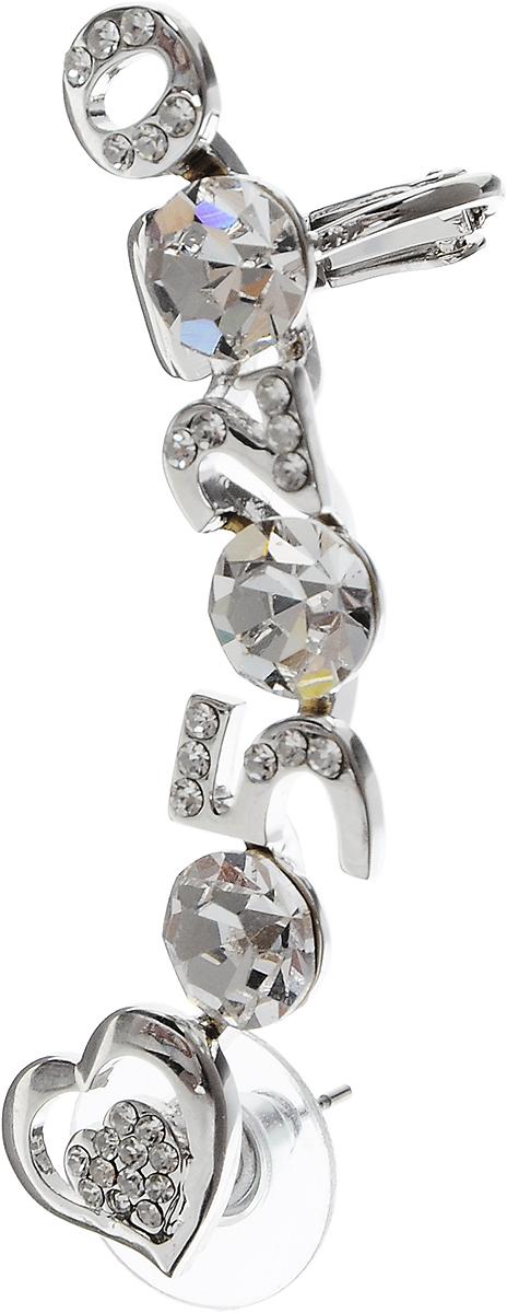 Серьга-кафф Art-Silver, цвет: серебристый. СРГ160-335СРГ160-335Серьга-кафф Art-Silver выполнена из бижутерного сплава и оформлена вставками из страз. Изделие позволяет украсить не только мочку, но и другие части уха. Застегивается серьга-кафф с помощью замка-гвоздика с заглушкой и фиксатора.