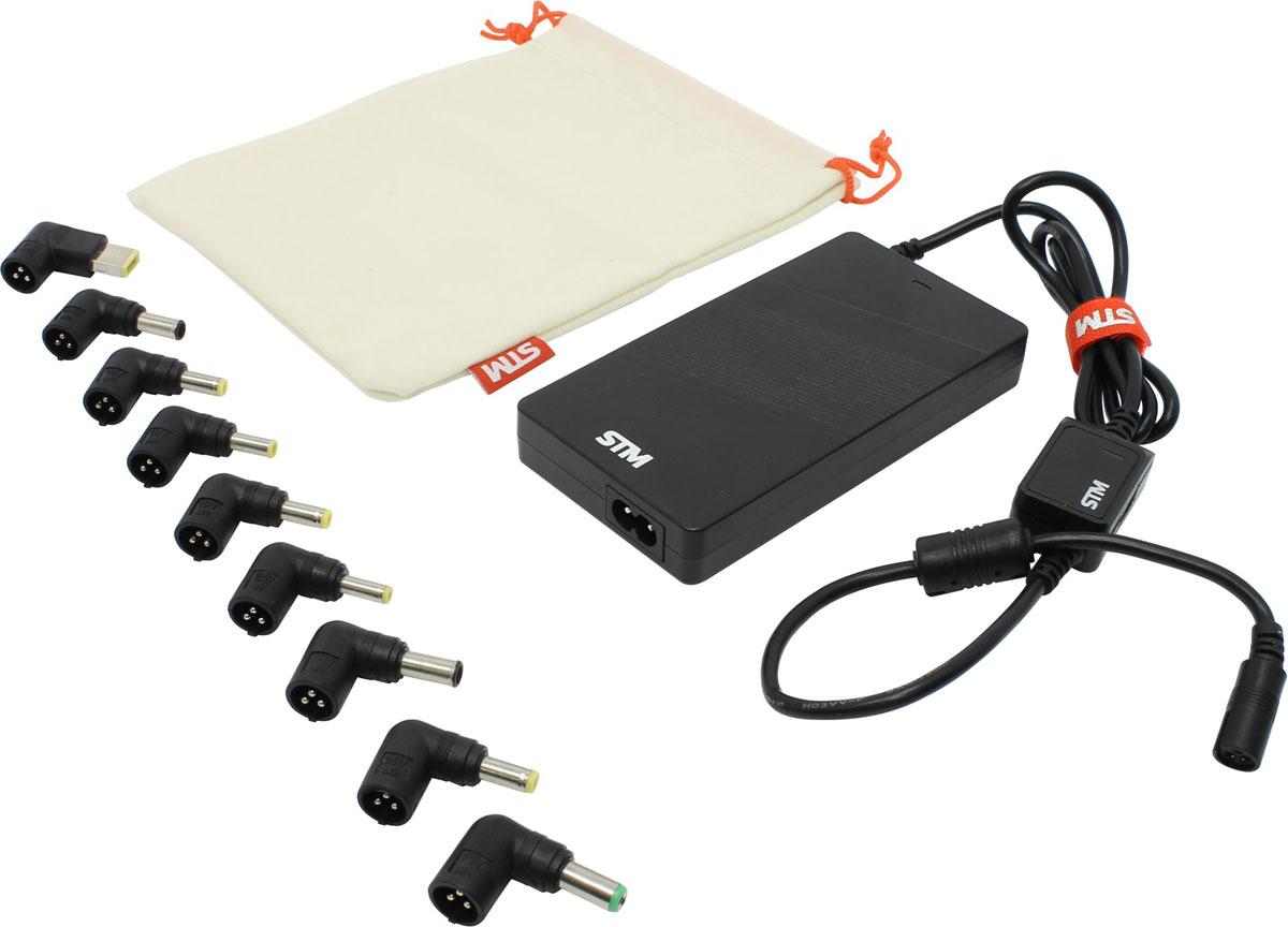 STM SLU90 адаптер питания для ноутбуков (90 Вт)STM SLU90Адаптер питания STM SLU90 - компактное универсальное устройство, с помощью которого можно подключить ноутбук к сети, чтобы обеспечить его работу и подзарядить аккумулятор. Блок питания можно не только использовать дома или в офисе, но и брать с собой в командировки или путешествия. Он совместим со многими популярными моделями ноутбуков, а разъем USB позволяет подключать к нему смартфоны, планшеты и другие мобильные устройства. Благодаря надежной защите адаптер не боится перегрева, короткого замыкания, скачков напряжения. При отсутствии необходимого коннектора для вашего ноутбука обращайтесь к производителю STM по вопросам его получения на территории России.