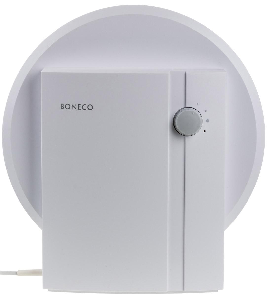 Boneco W1355A мойка воздухаНС-1032821Мойка воздуха Boneco W1355A — эффективный прибор для увлажнения и очистки воздуха в жилых и офисных помещениях. Boneco W1355A отличается от своих «коллег» по товарной категории достаточно скромным функционалом. Однако это никак не отражается на эффективности работы серии W1355A. Увлажнение и очистка воздуха в приборе Boneco W1355A осуществляется без использования сменных фильтров, поскольку роль сменных фильтров выполняет вода. Прибор может работать в двух режимах: более и менее интенсивный («ночной» режим). Boneco W1355A демонстрирует высокую эффективность при крайне низком энергопотреблении. Увлажнение и очистка воздуха осуществляется без использования химикатов.