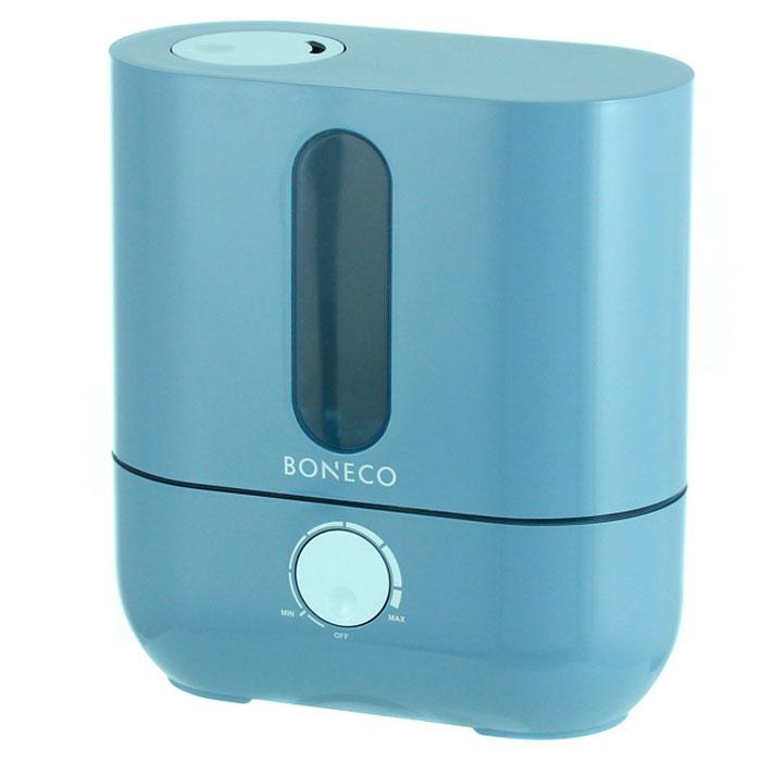 Boneco U201A, Blue ультразвуковой увлажнитель воздухаНС-1031212Ультразвуковой увлажнитель воздуха Boneco U201A отличается высокой производительностью увлажнения (300 г/час) при низком потреблении электроэнергии (20 Вт). Модель работает очень тихо даже на максимальной скорости увлажнения, поэтому не потревожит вас во время сна или работы. В Boneco U201A предусмотрена синяя подсветка - ночник (окно резервуара с водой). При необходимости подсветку можно отключить. Элегантный дизайн прибора вместе с подсветкой станет стильным и полезным дополнением к интерьеру. Внутри увлажнителя установлена мембрана, которая после включения прибора начинает вибрировать в ультразвуковом диапазоне частот. В результате колебаний на поверхности воды образуется туман (эмульсия из мелких капель воды и воздуха). Вентилятор, установленный внутри увлажнителя выдувает образовавшееся облако через распылитель в помещение (капли воды имеют сверх малый объем, поэтому они моментально превращаются в пар, и таким образом, насыщают воздух влагой). Для...
