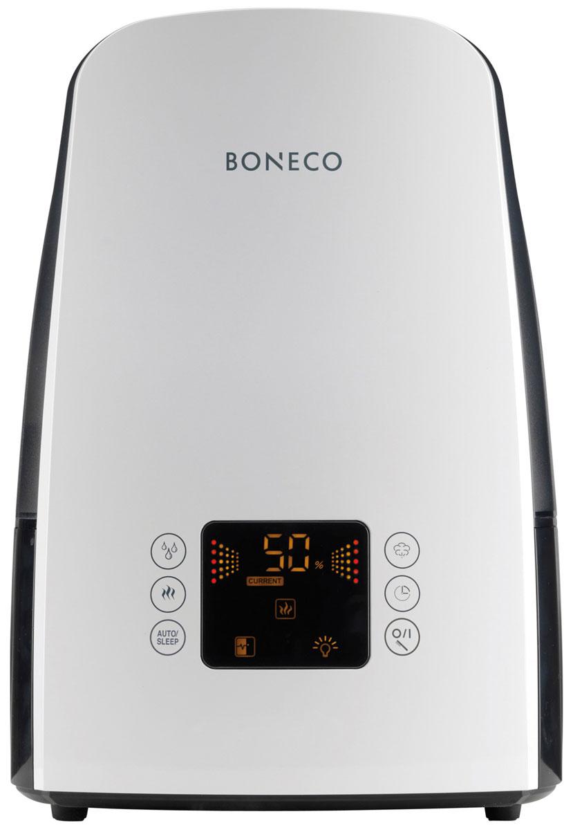 Boneco U650, White ультразвуковой увлажнитель воздухаНС-1077066Увлажнитель Boneco U650 воплотил в себе самые современные разработки в области микроклимата. Модный дизайн и популярные цвета, сенсорное управление, информационный дисплей и максимальный функционал делают увлажнитель Boneco U650 оптимальным прибором для дома и офиса. Благодаря встроенному электронному гигростату и датчику температуры определяется необходимый уровень влажности в зависимости от температуры, который будет автоматически поддерживаться в течение заданного периода времени (до 8 часов) или в непрерывном режиме. Именно так действует функция ITC (Intelligent Temperature Compensation) обеспечивая 100%-ю точность поддержания здорового микроклимата. Отличительной особенностью Boneco U650 является функция теплого пара, с помощью которой вода, прежде чем попасть на ультразвуковую мембрану, подвергается длительному нагреву до 80°С (пастеризация). В результате вода обеззараживается от бактерий, а производительность увлажнителя возрастает до 550 г/час. Новое решение...