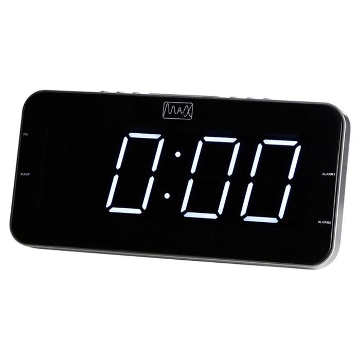 MAX CR-2904W, Silver White радиобудильник4630011250550Радио-будильник MAX CR-2904W оснащен большим дисплеем, на котором отображается основная информация. Дисплей показывает крупные цифры (высота - 4,5 сантиметра), подсвечиваемые в ночное время. Яркость свечения регулируется кнопками на корпусе часов. Радио-часы способны запомнить и использовать два режима настройки будильника. Сигнал будильника считывается из внутренней памяти часов (зуммер) или из эфира FM/AМ радиостанций. MAX CR-2904W работает в режиме радиоприёмника, принимающего сигналы в FM/AМ диапазоне. В память устройства можно записать до 20 настроек на выбранные радиостанции. Радио-будильник может работать в режиме Сон, предполагающем автоматическое прерывание трансляции по истечению заданного периода времени (до 120 минут). Пользователь может засыпать под радиопередачу, не заботясь о выключении приёмника.