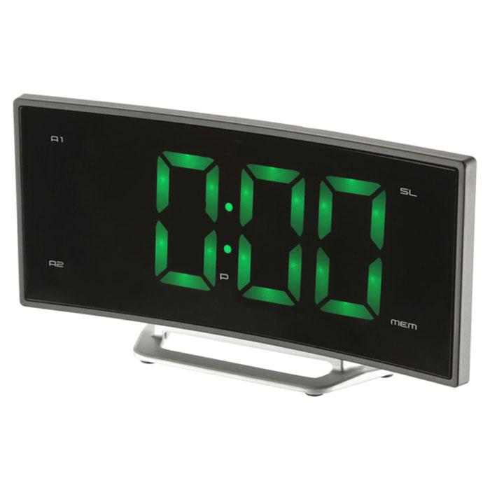 MAX CR-2905G, Black Green радиобудильник4630011250697Радио-будильник MAX CR-2905G оснащен большим дисплеем, на котором отображается основная информация. Дисплей показывает крупные цифры (высота - 4,7 сантиметра), подсвечиваемые в ночное время. Яркость свечения регулируется кнопками на корпусе часов. Радио-часы способны запомнить и использовать два режима настройки будильника. Сигнал будильника считывается из внутренней памяти часов (зуммер) или из эфира FM/AМ радиостанций. MAX CR-2905G работает в режиме радиоприёмника, принимающего сигналы в FM/AМ диапазоне. В память устройства можно записать до 10 настроек на выбранные радиостанции.