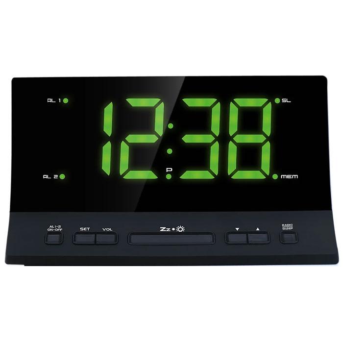 MAX CR-2907G, Black Green радиобудильник4630011250796Радио-будильник MAX CR-2907G выполнен в оригинальном форм-факторе. Он займет достойное место на столе жилой комнаты или офиса. В качестве сигнала можно использовать как зуммер, так и радио. Сигнал сработавшего будильника постепенно делается громче, поэтому владелец гарантированно его услышит. Радио-часы могут принимать передачи FM-радиостанций, предусмотрена возможность внести до 10 радиостанций в память устройства. В данной модели предусмотрена функция сна и возможность программируемого отключения через 5-60 минут, что позволяет радио-часам экономить энергию батарейки.