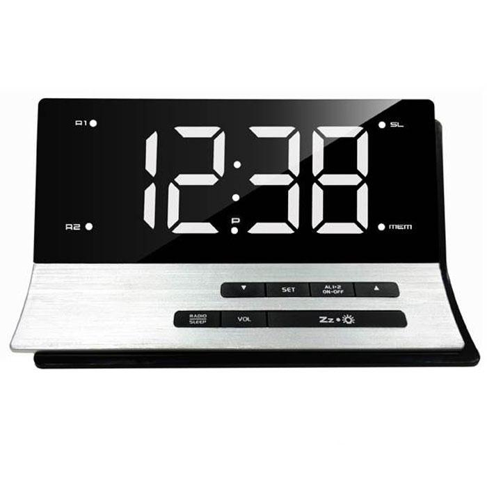 MAX CR-2907W, Silver White радиобудильник4630011250789Радио-будильник MAX CR-2907W выполнен в оригинальном форм-факторе. Он займет достойное место на столе жилой комнаты или офиса. В качестве сигнала можно использовать как зуммер, так и радио. Сигнал сработавшего будильника постепенно делается громче, поэтому владелец гарантированно его услышит. Радио-часы могут принимать передачи FM-радиостанций, предусмотрена возможность внести до 10 радиостанций в память устройства. В данной модели предусмотрена функция сна и возможность программируемого отключения через 5-60 минут, что позволяет радио-часам экономить энергию батарейки.