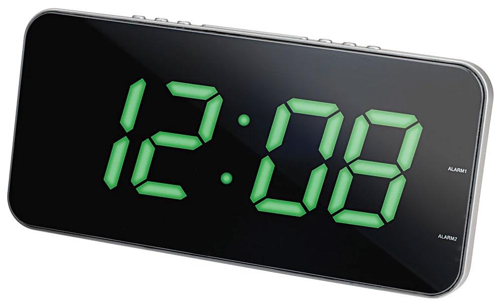 MAX CR-2909, Silver Green радиобудильник4630011250765Радио-будильник MAX CR-2909 оснащен большим дисплеем, на котором отображается основная информация. Устройство оснащено цифровым тюнером, принимает радиопередачи в диапазоне FM/AM. В его память можно внести до 20 любимых радиостанций. Точное время выводится на цифровой дисплей. Крупные светящиеся символы можно разглядеть издалека, в том числе при слабом освещении. Радио-часы выполнены в современном дизайне, лаконичном и функциональном. Они хорошо вписываются в интерьер квартиры или офиса.