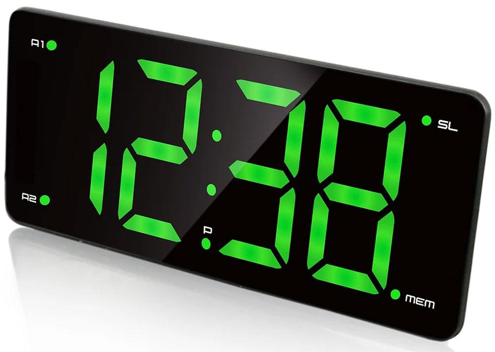 MAX CR-2910, Black Green радиобудильник4630011250772Радио-будильник MAX CR-2910 выполнен в оригинальном форм-факторе. Он займет достойное место на столе жилой комнаты или офиса. Данная модель имеет 3-дюймовый дисплей с большими цифрами зелёного цвета. Время на таком дисплее можно рассмотреть издалека, а яркость дисплея можно регулировать в соответствии с предпочтениями владельца. Производителем предусмотрены 2 будильника, которые можно установить на разное время. Мелодия постепенно усиливается, поэтому владелец гарантированно не проспит, не опоздает на работу или на важную встречу. В качестве сигнала можно использовать как зуммер, так и радио. Встроенное FM-радио обеспечит возможность слушать любимые радиостанции, быть в курсе последних событий, не скучать. В память устройства можно внести до 10 радиостанций.