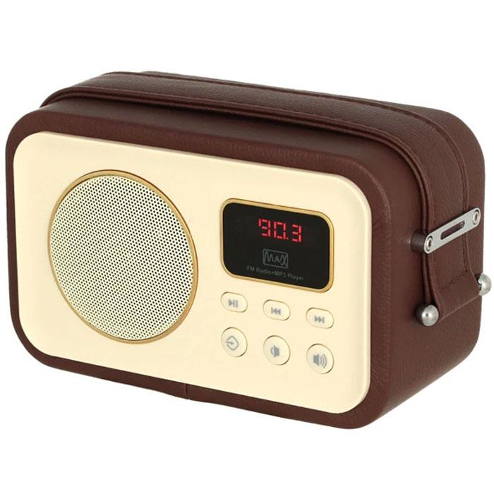 MAX MR-320, Brown портативный радиоприемник с MP34630011250635Радиоприёмник MAX MR-320 укомплектован цифровым усилителем Hi-Fi-класса, 52-миллиметровым динамиком на 3 Вт и 2-дюймовым сабвуфером. Эта модель воспроизводит станции FM-диапазона и аудиофайлы с карт памяти и флешек. Корпус приёмника обтянут искусственной кожей. К боковым граням приторочен широкий ремень для переноски. Модель работает со станциями FM-диапазона. В качестве дополнительного источника контента могут выступать карты памяти и USB-носители, подключаемые к соответствующим портам на тыльной стороне. За воспроизведение низких частот отвечает сабвуфер, а за общее качество звука - 5-ваттный усилитель Hi-Fi-класса. Акустическая система этой модели воспроизводит чистый и глубокий звук даже в режиме максимальной громкости.