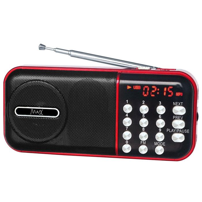 MAX MR-321, Red Black портативный радиоприемник с MP34630011250949MAX MR-321 портативный радиоприемник, который воспроизводит станции FM-диапазона и аудиофайлы с карт памяти и флешек. Slim дизайн Красный LED дисплей FM радио Сменный аккумулятор (BL-5С) Время воспроизведения: до 6 часов