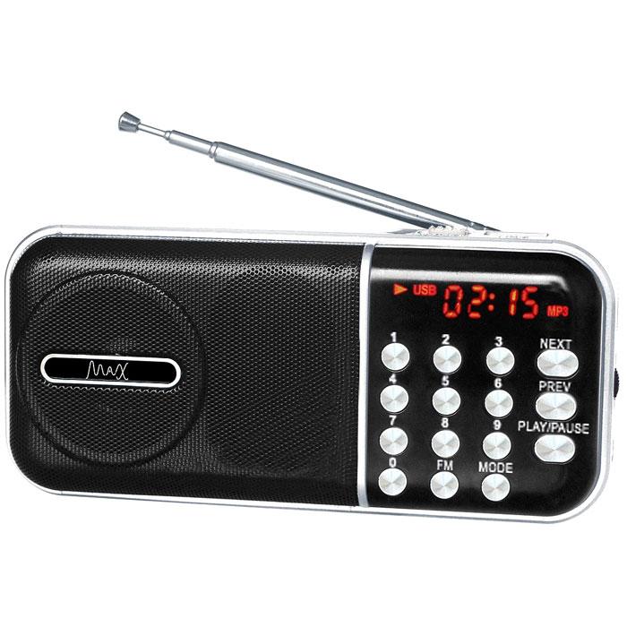 MAX MR-321, Silver Black портативный радиоприемник с MP34630011250956MAX MR-321 портативный радиоприемник, который воспроизводит станции FM-диапазона и аудиофайлы с карт памяти и флешек. Slim дизайн Красный LED дисплей FM радио Сменный аккумулятор (BL-5С) Время воспроизведения: до 6 часов