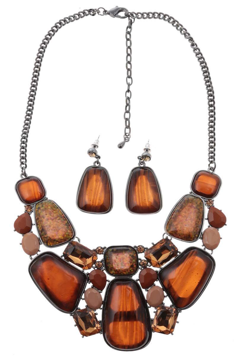 Комплект Мокко: ожерелье и серьги-пусеты от D.Mari. Ювелирный пластик, золотистые кристаллы, бижутерный сплав серебряного тона. ГонконгНПО021116-01Комплект Мокко: ожерелье и серьги-пусеты от D.Mari. Ювелирный пластик, разноцветные кристаллы , бижутерный сплав серебряного тона. Гонконг. Размер: Ожерелье - полная длина 37-46 см, размер регулируется за счет застежки-цепочки. Серьги - 4 х 2 см.