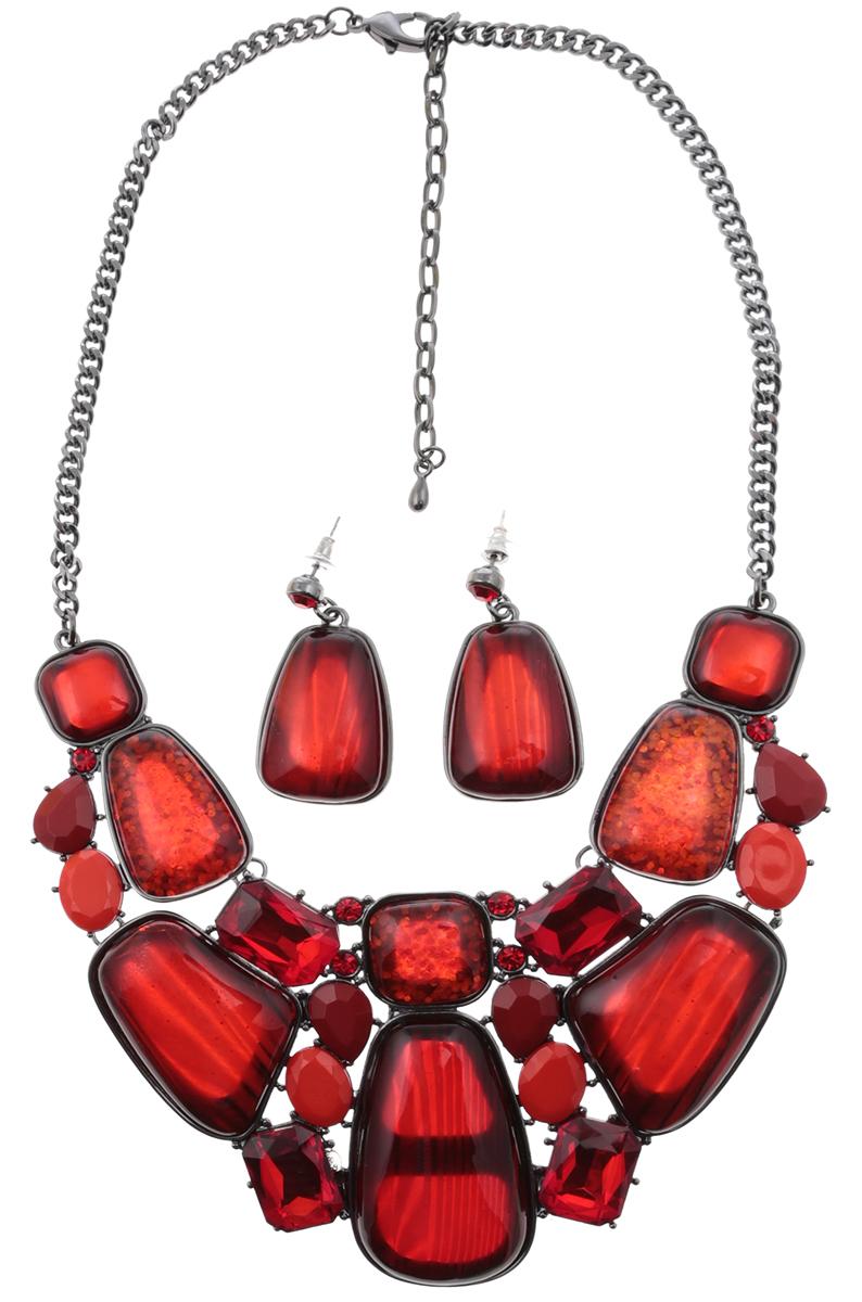 Комплект Кармен: ожерелье и серьги-пусеты от D.Mari. Ювелирный пластик, кристаллы рубинового цвета, бижутерный сплав серебряного тона. ГонконгНПО021116-01Комплект Кармен: ожерелье и серьги-пусеты от D.Mari. Ювелирный пластик, кристаллы рубинового цвета, бижутерный сплав серебряного тона. Гонконг. Размер: Ожерелье - полная длина 37-46 см, размер регулируется за счет застежки-цепочки. Серьги - 4 х 2 см.