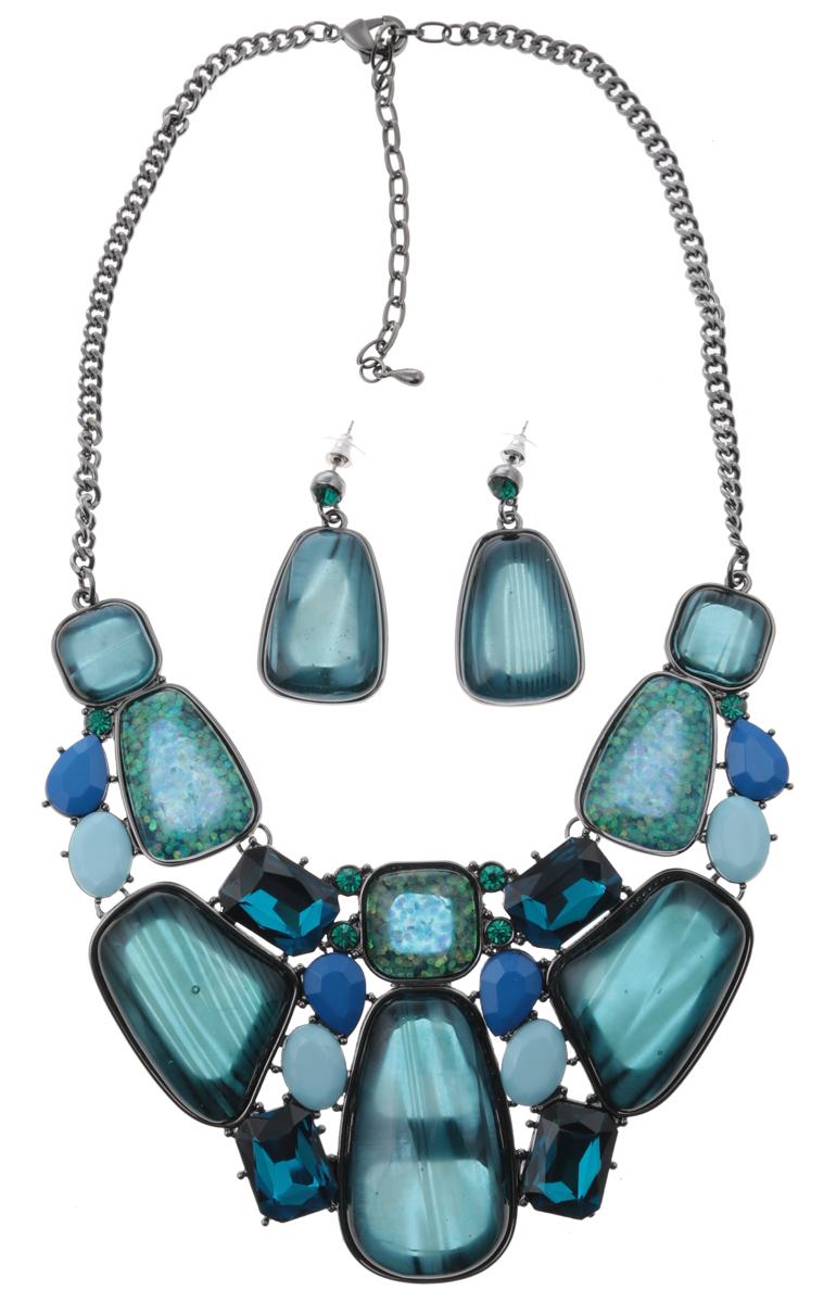 Комплект Сорренто: ожерелье и серьги-пусеты от D.Mari. Ювелирный пластик, разноцветные кристаллы, бижутерный сплав серебряного тона. ГонконгНПО021116-01Комплект Сорренто: ожерелье и серьги-пусеты от D.Mari. Ювелирный пластик, разноцветные кристаллы , бижутерный сплав серебряного тона. Гонконг. Размер: Ожерелье - полная длина 37-46 см, размер регулируется за счет застежки-цепочки. Серьги - 4 х 2 см.