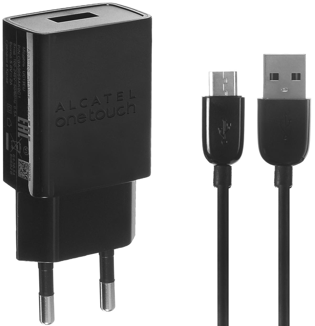 Alcatel UC13-2AALRU1, Black сетевое зарядное устройствоUC13-2AALRU1Сетевое зарядное устройство Alcatel UC13-2AALRU1 предназначено для зарядки и питания мобильного устройства от бытовой сети переменного тока. Вы можете заряжать любые устройства, совместимые с выходным током зарядки до 2А и напряжением 5В.