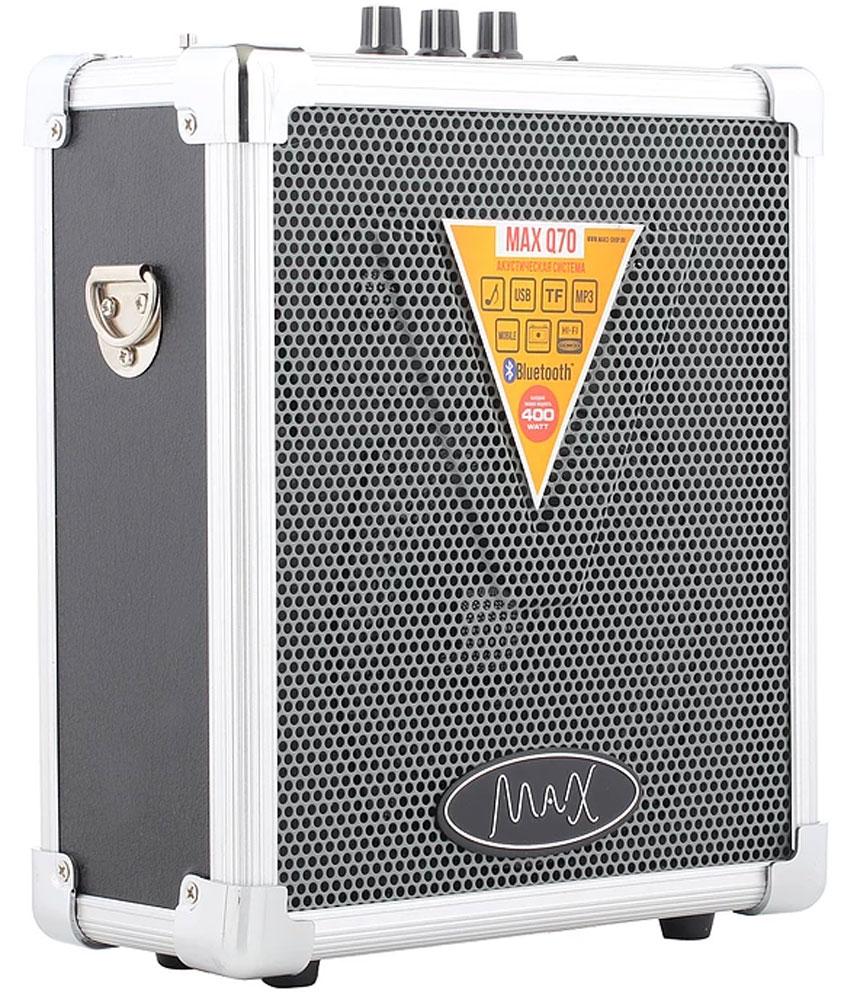 MAX Q70, Silver Black портативная акустическая система4630011250536Мощная многофункциональная портативная акустика MAX Q70. Воспроизводит музыку с USB/MicroSD. Соединяется с любым устройством обладающим Bluetooth. Работает на аккумуляторе до 10 часов. Воспроизводит громкое и качественное звучание. Подходит как для небольшого помещения так и для открытого пространства. Имеет удобный ремень для плеча. Эхо-эффект Поддержка форматов MP3, WMA FM приёмник 87.5-108.0 МГц