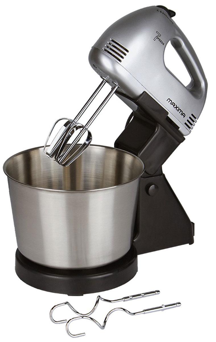 Maxima MHM-0221 миксерMHM-0221Миксер Maxima MHM-0221 - удобная и эргономичная модель, которая может перемешивать и взбивать, используя 2 вида насадок. Этот миксер поможет быстро взбить яйца, приготовить крем или перемешать тесто при помощи 7 скоростных режимов. На корпусе также находится кнопка для легкого извлечения насадок. Чаша не вращается.