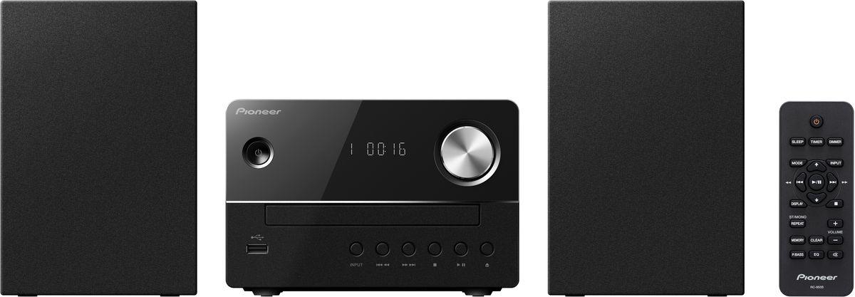 Pioneer X-EM16, Black музыкальный центр1500177Микросистема Pioneer X-EM16 суперкомпактна, а благодаря весу каждого компонента около одного килограмма она не окажется слишком тяжелой даже для не самых прочных полок – таким образом для CD-ресивера и обеих стереоколонок найдется подходящее место действительно в любой комнате. Простой и элегантный дизайн будет безупречно гармонировать с любым окружением. Помимо CD и FM-радио, модель X-EM 16 может также воспроизводить MP3-файлы с USB-флешек, а благодаря линейному входу систему даже можно расширить, подключив дополнительный аудиоплеер, например, портативный медиаплеер или сетевой плеер. Pioneer X-EM16 приятно удивляет звучанием, которое гораздо объемнее по сравнению с тем, как выглядит система, и гибко подстраивается под привычки слушателей с помощью эквалайзера с пятью предустановленными режимами и переключаемого режима P.Bass. Для спальни или гостиной рекомендуется дополнительное использование встроенных в систему функций спящего режима и таймера.