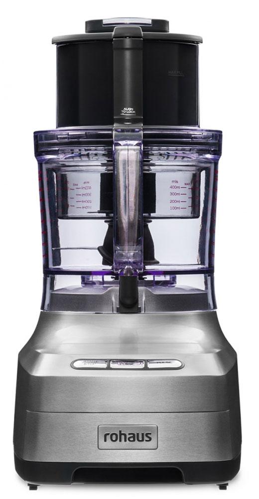 Rohaus RP910S, Silver кухонный комбайнRP910SКухонный комбайн Rohaus RP910S выполнен с применением долговечных деталей из нержавеющей стали, имеет 3 режима работы и набор функциональных насадок, что позволяет добиться идеальных результатов измельчения и нарезки для любых блюд, а возможность работы сразу в 2 чашах одновременно значительно ускоряет процесс приготовления многокомпонентных блюд. Подойдет для любого блюда: 6 насадок для нарезки различными способами Функция Автопульс позволяет измельчать продукты, не превращая их в пюре Уникальная компактность. Встроенный отсек для хранения насадок Индукционный двигатель мощностью 1400 Вт с гарантией 10 лет
